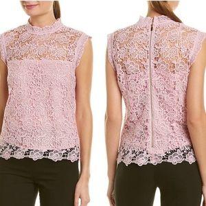 Nanette Lepore tank top lace mock neck pink